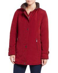 Gallery - Purple Plus Faux Fur-trimmed Coat - Lyst