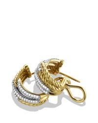David Yurman - Yellow Labyrinth Double-loop Earrings With Diamonds - Lyst