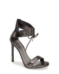 Stuart Weitzman | Black 'tynela' Ankle Strap Sandal | Lyst
