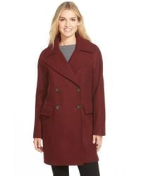 Vince Camuto | Purple Double Breasted Peacoat | Lyst