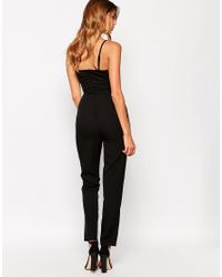 Girl In Mind - Black Jumpsuit With Lace Detail - Lyst