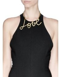 Lanvin - Metallic 'love' Necklace - Lyst