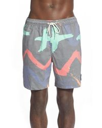 Quiksilver | Gray 'warpaint' Print Swim Trunks for Men | Lyst