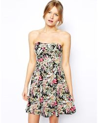 Oasis - Multicolor Hawaiian Tropical Print Bandeau Dress - Lyst