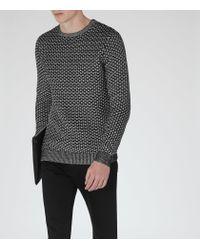 Reiss - Black Bruge Weave Cotton Jumper for Men - Lyst