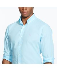 Polo Ralph Lauren | Blue Solid Poplin Sport Shirt for Men | Lyst