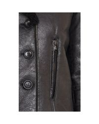 Barneys New York - Black Double-Breasted Lamb Shearling Jacket - Lyst