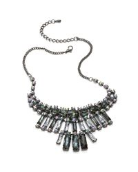 Material Girl - Gray Gunmetaltone Rectangle Rhinestone Statement Necklace - Lyst