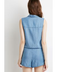 Forever 21 - Blue Chambray Pocket Romper - Lyst