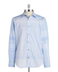 Calvin Klein | Blue Large Plaid Sportshirt for Men | Lyst