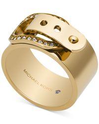 Michael Kors | Metallic Crystal Buckle Ring | Lyst