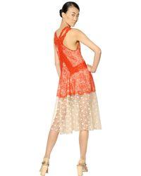 Stella McCartney | Red Viscose Lace Long Dress | Lyst