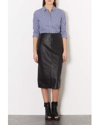 TOPSHOP - Blue Mix Gingham Shirt - Lyst