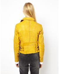 Doma Leather - Yellow Leather Moto Jacket with Hidden Access - Lyst