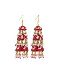 Chamak by Priya Kakkar - Pink Tier Drop Earrings - Lyst