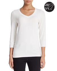 Lord & Taylor | Natural Petite Iconic Fit V-neck Tee | Lyst