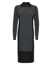 Jaeger - Black Wool Houndstooth Sweater Dress - Lyst