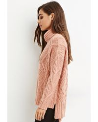 Forever 21 - Purple Cable Knit Turtleneck Sweater - Lyst