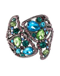 Betsey Johnson | Multicolor Butterfly Effect Mixed Faceted Stone Butterfly Cuff Bracelet | Lyst