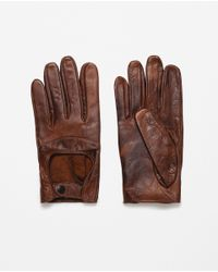 Zara | Brown Leather Driving Gloves for Men | Lyst