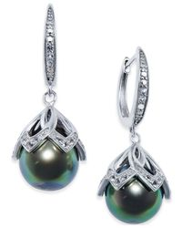 Macy's - Tahitian Freshwater Pearl (10mm) And White Topaz Accent Drop Earrings In Sterling Silver - Lyst