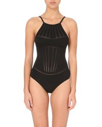 La Perla | Black Dunes Mesh-panel Swimsuit | Lyst
