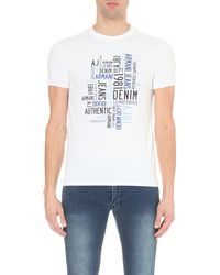 Armani Jeans - White Authentic Denim Brand Stretch-cotton T-shirt for Men - Lyst