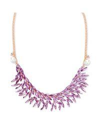Steve Madden - Metallic Rose Goldtone Faceted Purple Crystal Frontal Necklace - Lyst
