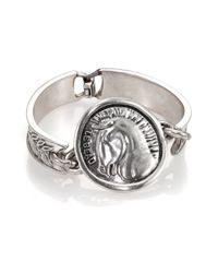 Giles & Brother - Metallic Horse Head Coin Cuff Bracelet - Lyst