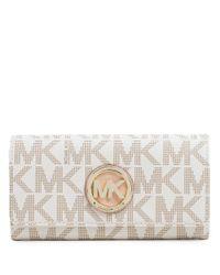MICHAEL Michael Kors | White Fulton Monogram Wallet | Lyst