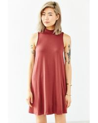Silence + Noise | Red Mock-neck Mini Swing Dress | Lyst