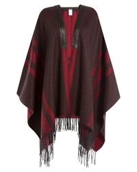 Etro | Brown Printed Cashmere Cape With Leather - Multicolor | Lyst
