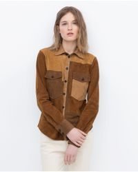 Zara | Multicolor Leather Patchwork Shirt | Lyst