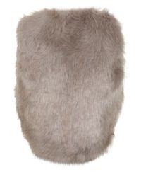 Miss Selfridge | Gray Cropped Faux Fur Vest | Lyst