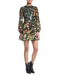 Valentino - Green Floral Silk Organza Long-sleeve Dress - Lyst