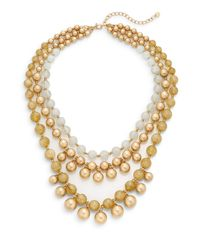 Lydell NYC - Natural Three Row Beaded Statement Necklace/beige - Lyst