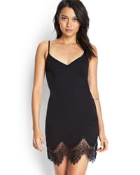 Forever 21 - Black Eyelash Lace Slip Dress You've Been Added To The Waitlist - Lyst