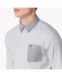 Tommy Hilfiger - Gray Brushed Cotton Shirt for Men - Lyst
