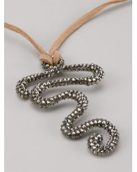 Roni Blanshay | Brown Squiggle Snake Necklace | Lyst
