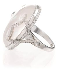 Ivanka Trump | White Pave Diamond Pagoda Shank Cabochon Cocktail Ring | Lyst