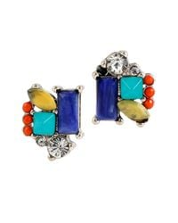 Kenneth Cole | Multicolor Silver-tone Mixed Bead Linear Earrings | Lyst