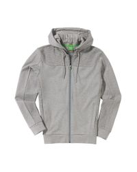 BOSS Green | Gray Hooded Sweatshirt Jacket 'skibo' In Cotton for Men | Lyst