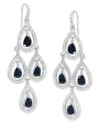 Carolee - Metallic Silver-Tone Glass Stone Pave Pear Chandelier Earrings - Lyst