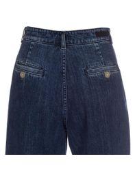 Paul Smith - Blue Women's Pleat-front Washed Denim Jeans - Lyst