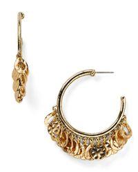 R.j. Graziano - Metallic Medallion Hoop Earrings - Lyst