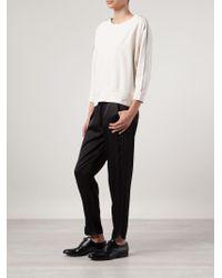 Brunello Cucinelli - White Piped Curved Hem Sweatshirt - Lyst
