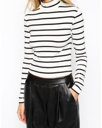 ASOS - Black Top In Turtle Neck With Stripe - Lyst