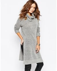 Fashion Union | Gray Funnel Neck Dress With Side Splits | Lyst