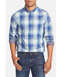 Ben Sherman - Blue 'ombre Check' Mod Fit Poplin Woven Shirt for Men - Lyst
