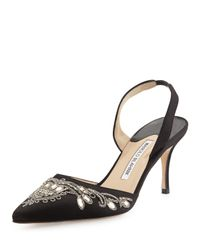 Manolo Blahnik - Black Mectar Jeweled Pumps - Lyst